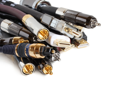 Group of audio/video cables on white background Banque d'images