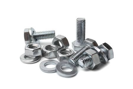 Steel bolts and nuts on white background 스톡 콘텐츠