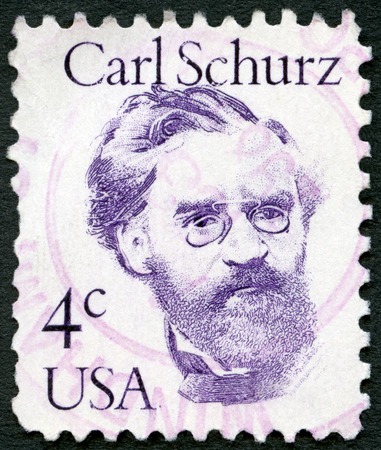 statesman: UNITED STATES OF AMERICA - CIRCA 1980: A stamp printed in USA shows portrait of Carl Christian Schurz (1829-1906), statesman and senator, series great americans, circa 1980