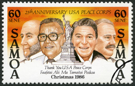 ronald reagan: SAMOA - CIRCA 1986: A stamp printed in Samoa shows Ronald Reagan (1911-2004), Vaai Kolone (1911-2001), Francois Paul Jules Grevy (1807-1891) and Stephen Grover Cleveland (1837-1908), the Statue of Liberty, series, circa 1986