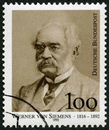 industrialist: GEMANY - CIRCA 1992: A stamp printed in Germany shows Ernst Werner Siemens (1816-1992), inventor and industrialist, electrical engineer, circa 1992