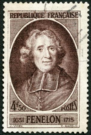 archbishop: FRANCE - CIRCA 1947: A stamp printed in France shows Francois de Salignac de la Mothe-Fenelon, Archbishop Fenelon (1651-1715), prelate and writer, circa 1947