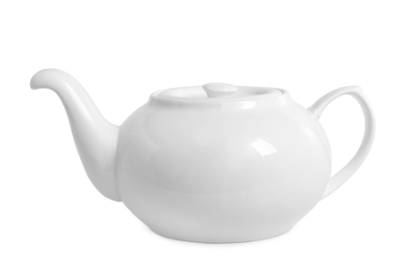 traditional remedy: Teapot on white background