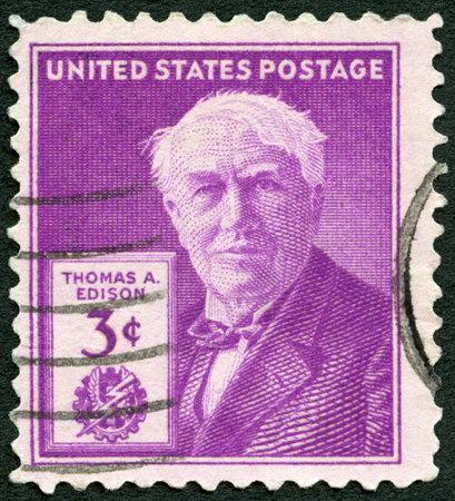 thomas: UNITED STATES OF AMERICA - CIRCA 1947: A stamp printed in USA shows portrait of Thomas Alva Edison (1847-1931), inventor and businessman, 100th birth anniversary, circa 1947 Editorial