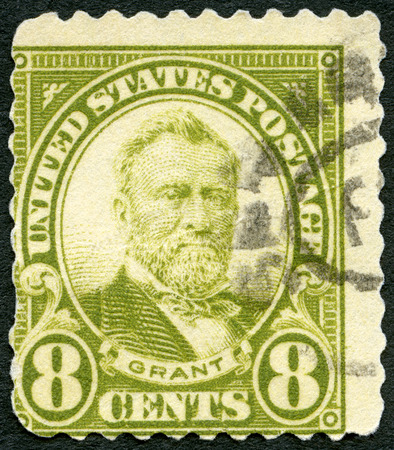 ulysses s  grant: UNITED STATES OF AMERICA - CIRCA 1923: A stamp printed in USA shows portrait of Hiram Ulysses S. Grant (1822-1885), 18th President of USA, circa 1923