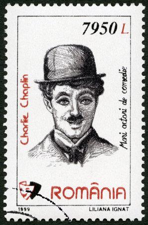 ROMANIA - CIRCA 1999: A stamp printed in Romania shows portrait of Charlie Chaplin (1889-1977), series Comic Actors, circa 1999
