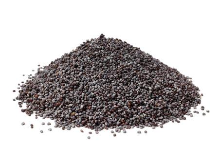 opiate: Poppy seeds on white background