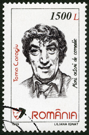 rumania: ROMANIA - CIRCA 1999: A stamp printed in Romania shows Toma Caragiu (1925-1977), series Comic Actors, circa 1999 Editorial