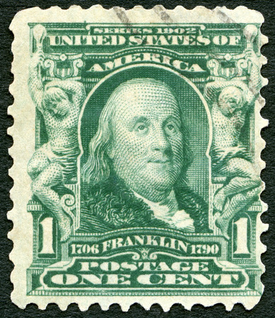 sates: USA - CIRCA 1903: A stamp printed in USA shows portrait of Benjamin Franklin (1706-1790), circa 1903