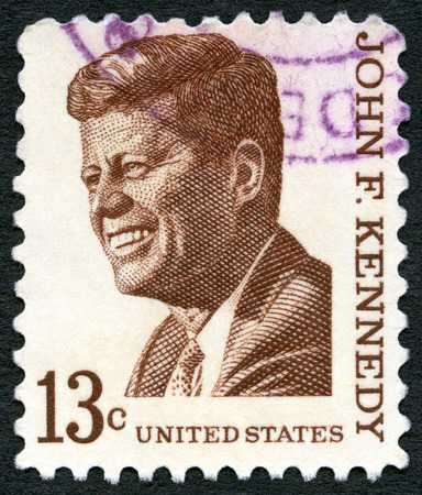 kennedy: USA - CIRCA 1965: A stamp printed in USA shows John F. Kennedy (1917-1963), series Prominent Americans Issue, circa 1965