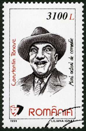 rumania: ROMANIA - CIRCA 1999: A stamp printed in Romania shows Constantin Tanase (1925-1977), series Comic Actors, circa 1999 Editorial