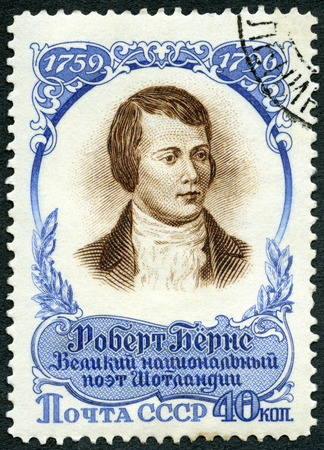robert: USSR - CIRCA 1956: A stamp printed in USSR shows portrait of Robert Burns (1759-1796), 160th Death anniversary, Scottish Poet, circa 1956