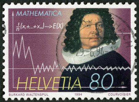 SWITZERLAND - CIRCA 1994: A stamp printed in Switzerland shows Jakob Bernoulli (1654-1705), mathematician, circa 1994
