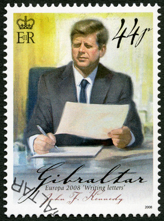 assassinated: GIBRALTAR - CIRCA 2008: A stamp printed in Gibraltar shows of John F. Kennedy (1917-1963), series Europa letter writing, circa 2008 Editorial