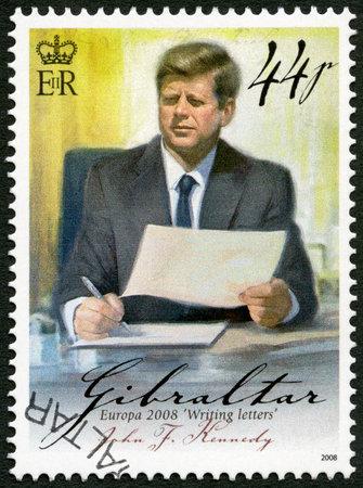john: GIBRALTAR - CIRCA 2008: A stamp printed in Gibraltar shows of John F. Kennedy (1917-1963), series Europa letter writing, circa 2008 Editorial