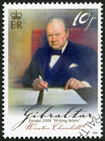 statesman: GIBRALTAR - CIRCA 2008: A stamp printed in Gibraltar shows Sir Winston Spencer Churchill (1874-1965), British statesman and WWII leader, series Europa letter writing, circa 2008 Editorial