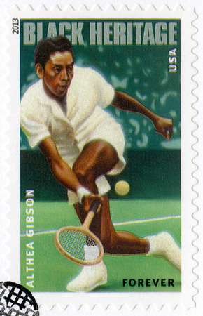right handed: UNITED STATES OF AMERICA - CIRCA 2013: A stamp printed in USA shows Althea Gibson(1927-2003), tennis player, series Black Heritage, Forever, circa 2013 Editorial