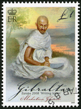 indian postal stamp: GIBRALTAR - CIRCA 2008: A stamp printed in Gibraltar shows of Mohandas Karamchand Gandhi (1869-1948), series Europa letter writing, circa 2008