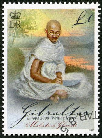 GIBRALTAR - CIRCA 2008: A stamp printed in Gibraltar shows of Mohandas Karamchand Gandhi (1869-1948), series Europa letter writing, circa 2008