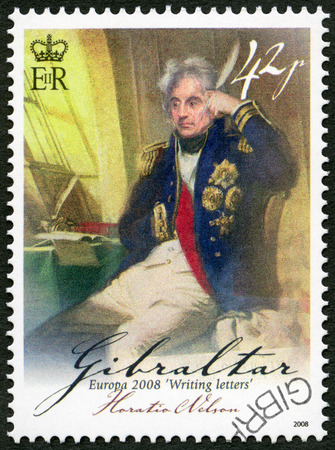 nelson: GIBRALTAR - CIRCA 2008: A stamp printed in Gibraltar shows Horatio Lord Nelson, 1st Viscount Nelson (1758-1805), British flag officer, series Europa letter writing, circa 2008 Editorial