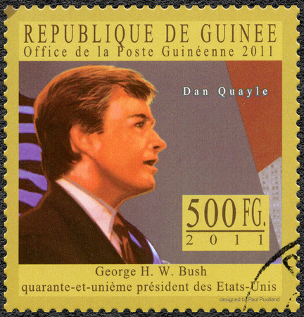 postmail: GUINEA - CIRCA 2011: A stamp printed in Republic of Guinea shows James Danforth Dan Quayle ( born 1947), Vice President of the United States, series George H. W. Bush forty-first President of the United States, circa 2011 Editorial
