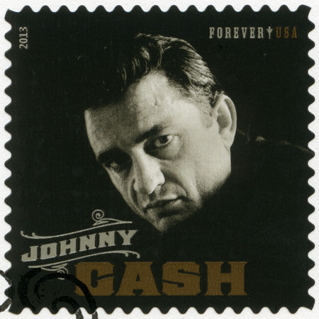 UNITED STATES OF AMERICA - CIRCA 2013: A stamp printed in USA shows J. R. Johnny Cash (1932-2003), series music icons forever, circa 2013