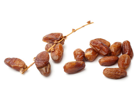 tree fruit: Dried dates on white background
