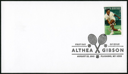 handed: UNITED STATES OF AMERICA - CIRCA 2013: A stamp printed in USA shows Althea Gibson(1927-2003), tennis player, series Black Heritage, Forever, circa 2013 Editorial