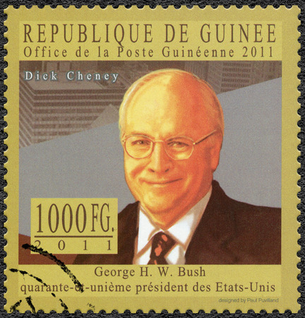 postmail: GUINEA - CIRCA 2011: A stamp printed in Republic of Guinea shows Richard Bruce Dick Cheney (born 1941), politician and businessman, series George H. W. Bush forty-first President of the United States, circa 2011 Editorial