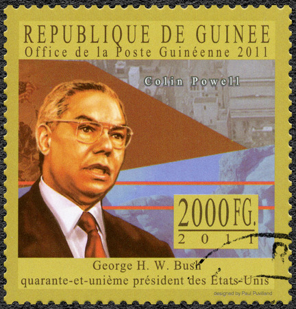 GUINEA - CIRCA 2011: A stamp printed in Republic of Guinea shows Colin Luther Powell ( born 1934), general, series George H. W. Bush forty-first President of the United States, circa 2011
