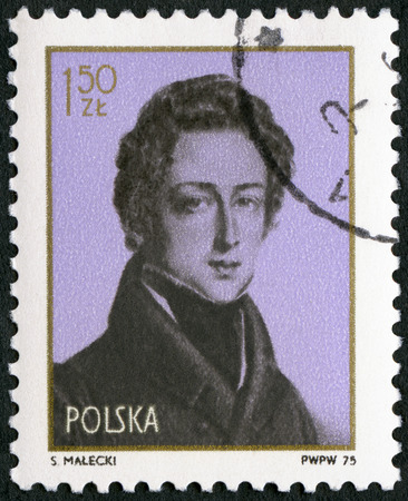 fryderyk chopin: POLAND - CIRCA 1975: A stamp printed in Poland shows Frederic Chopin (1810-1849), 9th International Chopin Piano Competition, Warsaw, Oct. 7-28, circa 1975