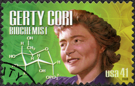 biochemist: UNITED STATES OF AMERICA - CIRCA 2008: A stamp printed in USA shows portrait of Gerty Theresa Cori 1896-1957, biochemist, series American Scientists, circa 2008