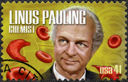 biochemist: UNITED STATES OF AMERICA - CIRCA 2008: A stamp printed in USA shows portrait of Linus Carl Pauling (1901-1994), chemist and biochemist, series American Scientists, circa 2008
