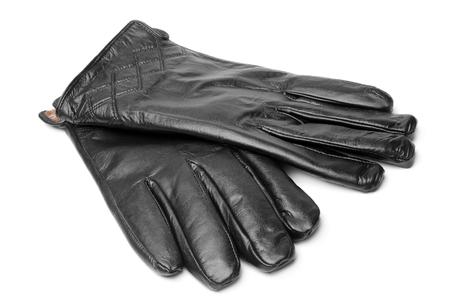 guantes: Guantes de cuero negro sobre fondo blanco