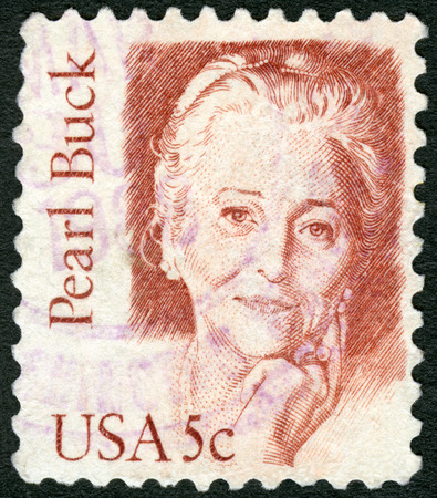 novelist: USA - CIRCA 1980: A stamp printed in United States of America shows Pearl Sydenstricker Buck (1892-1973), writer and novelist, series Great Americans, circa 1980