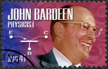 physicist: UNITED STATES OF AMERICA - CIRCA 2008: A stamp printed in USA shows portrait of John Bardeen 1908-1953, physicist and electrical engineer, series American Scientists, circa 2008 Editorial