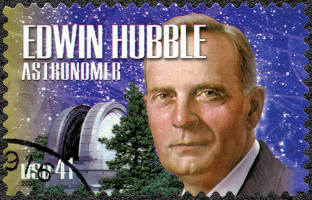 united states postal service: UNITED STATES OF AMERICA - CIRCA 2008: A stamp printed in USA shows portrait of Edwin Powell Hubble 1889-1953, astronomer, series American Scientists, circa 2008