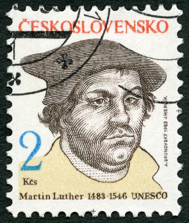 CZECHOSLOVAKIA - CIRCA 1983: A stamp printed in Czechoslovakia shows Portrait of Martin Luther (1483-1546), friar, priest and professor, circa 1983 Editorial