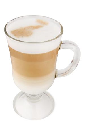 Latte macchiato on white background