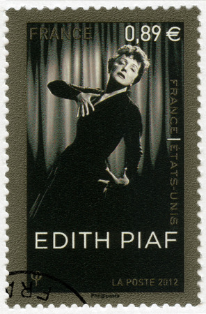edith: FRANCE - CIRCA 2012: A stamp printed in France shows Edith Piaf (1915-1963), singer, circa 2012 Editorial