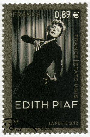 ballad: FRANCE - CIRCA 2012: A stamp printed in France shows Edith Piaf (1915-1963), singer, circa 2012 Editorial
