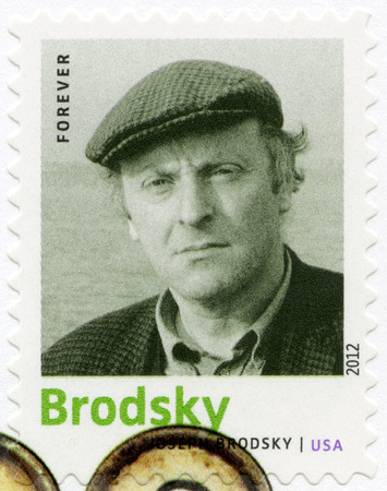 nobel: UNITED STATES OF AMERICA - CIRCA 2012: A stamp printed in USA shows Iosif (Joseph) Aleksandrovich Brodsky (1940-1996), poet and essayist, series Nobel Laureate in Literature, circa 2012 Editorial