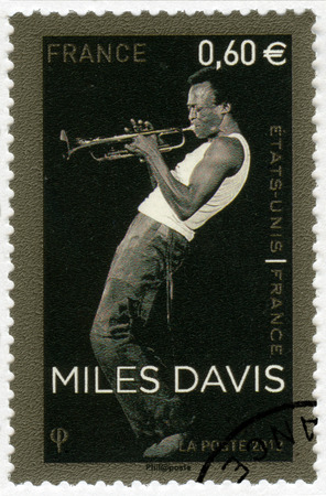 dewey: FRANCE - CIRCA 2012: A stamp printed in France shows Miles Dewey Davis III (1926-1991), jazz musician and trumpeter, circa 2012 Editorial