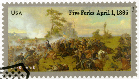 united states postal service: UNITED STATES OF AMERICA - CIRCA 2015: A stamp printed in USA shows the Battle of Five Forks, near Petersburg, Virginia, on April 1, 1865, series The Civil War 1865, circa 2015