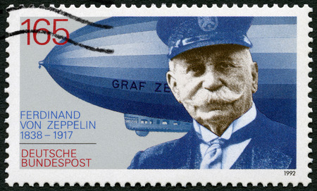 ferdinand: GERMANY - CIRCA 1992: A stamp printed in Germany shows Ferdinand Graf Von Zeppelin (1838-1917), German general and Airship Builder, electrical engineer, circa 1992 Editorial