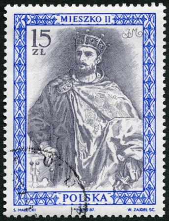 royalty: POLAND - CIRCA 1987: A stamp printed in Poland shows Mieszko II Lambert (990-1034) King of Poland, series Royalty, circa 1987