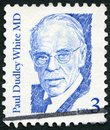 united states postal service: USA - CIRCA 1986: A stamp printed in United States of America shows Paul Dudley White MD (1886-1973), American physician and cardiologist, series Great Americans, circa 1986 Editorial
