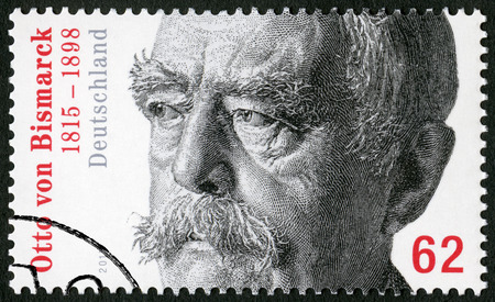 statesman: GEMANY - CIRCA 2015: A stamp printed in Germany shows Otto von Bismarck (1815-1898), Prussian statesman, circa 2015