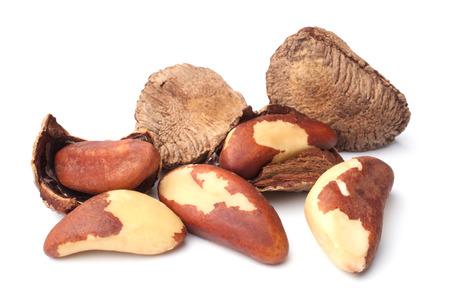 nut: Brazil nuts on white background