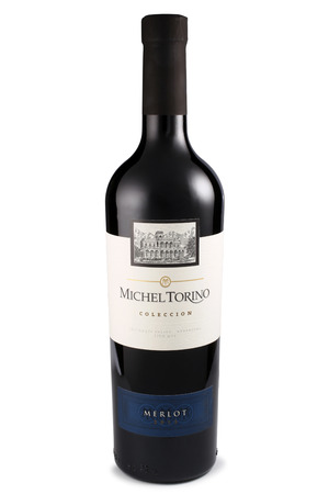 merlot: ST. PETERSBURG, RUSSIA - July 11, 2015: Bottle of Michel Torino Merlot, Argentina, 2013